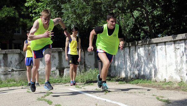 Школьники во время сдачи нормативов ГТО