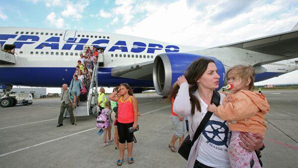 Встреча первого регулярного рейса Москва – Симферополь – Москва. Архивное фото