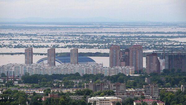 Вид с вертолета на Хабаровск и окрестности. Архивное фото