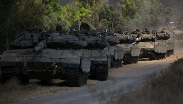 Колонна бронетехники израильской армии 19 июля 2014
