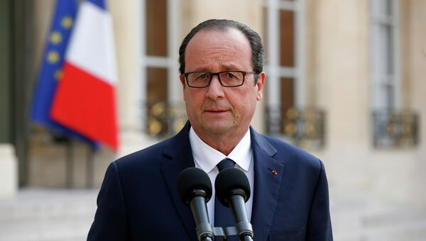 Президент Франции Франсуа Олланд выступает с речью после встречи с членами правительства в Елисейском дворце в Париже. 24 июля 2014