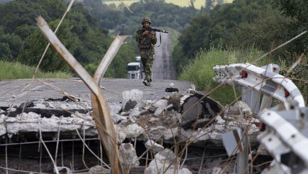 Солдат украинской армии в Донецкой области