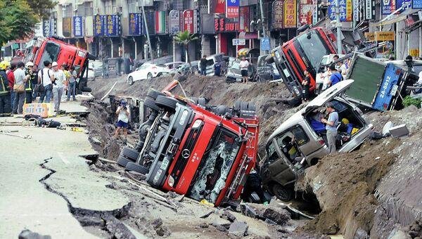 Последствия взрыва газа в Тайване