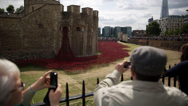 Инсталляция в виде макового поля возле лондонского Тауэра в память о Первой мировой войне, архивное фото