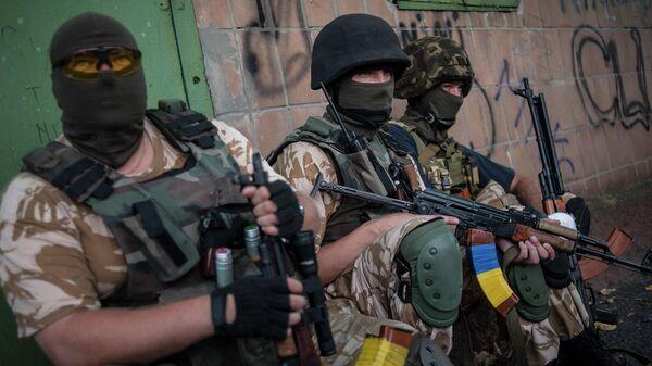 Бойцы украинского добровольческого батальона Донбасс. Архивное фото