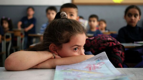 Сирийские школьники на занятиях. Архивное фото