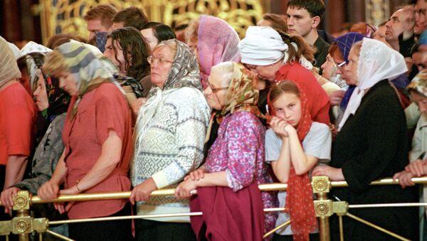 Верующие в очереди к мощам святого апостола Андрея Первозванного