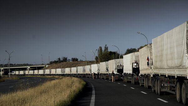Третья гуманитарная колонна по дороге в город Донецк. Архивное фото
