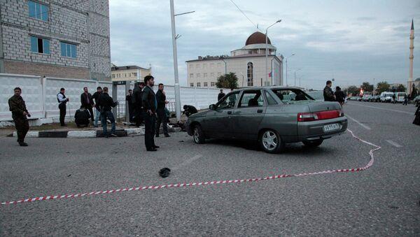 Место взрыва в Грозном