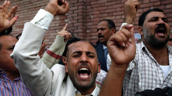 Сторонники Братьев мусульман во время парламентских выборов в Александрии, Египет