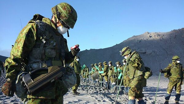 Спасательные работы на горе Онтакэ в Японии