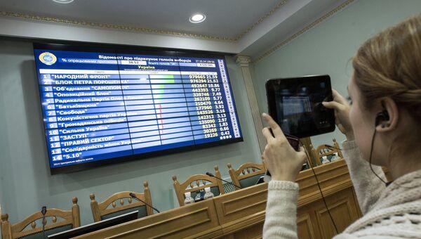 Табло с промежуточными итогами парламентских выборов в здании Центральной избирательной комиссии в Киеве