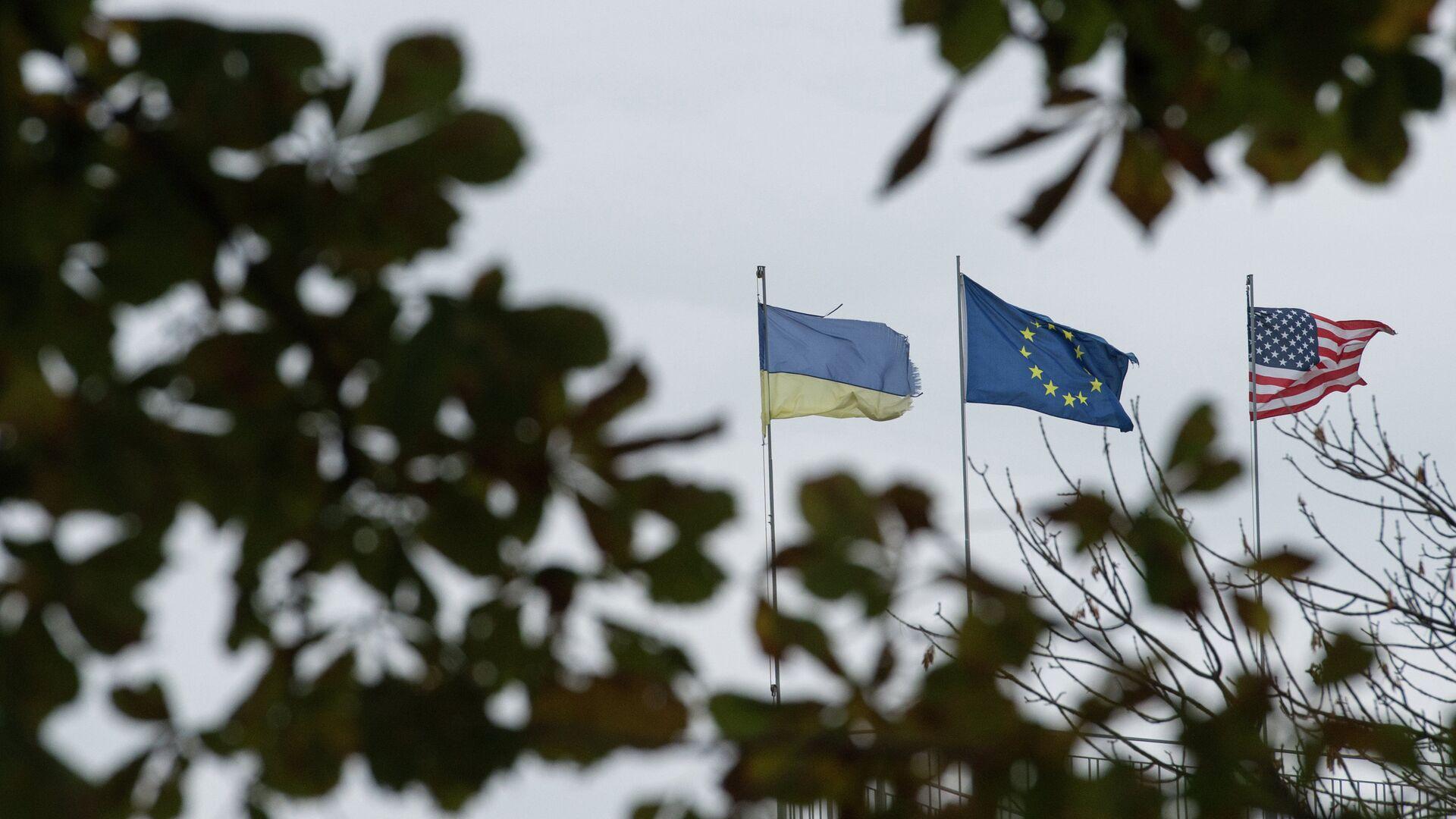 Флаги Украины, Европейского союза и Соединенных Штатов Америки - РИА Новости, 1920, 12.06.2021
