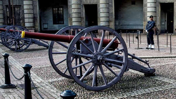 Пушки на Дворцовой площади у Стокгольмского королевского дворца. Архивное фото