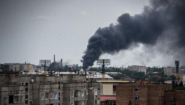 Луганск во время артиллерийского обстрела. Архивное фото