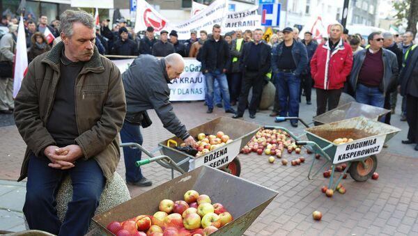 Фермеры и садоводы Польши на акции протеста в Варшаве