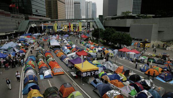 Лагерь протестующих в административном районе Гонконга. Архивное фото