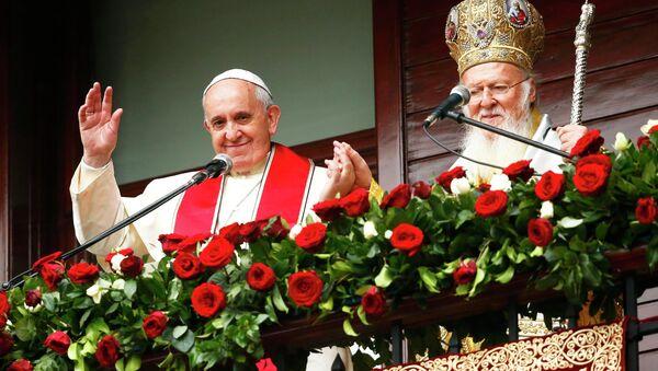 Папа римский Франциск и вселенский патриарх Варфоломей в Стамбуле