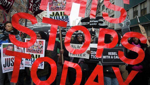 Марш миллионов протеста против насилия полицейских в Нью-Йорке, США. Архивное фото
