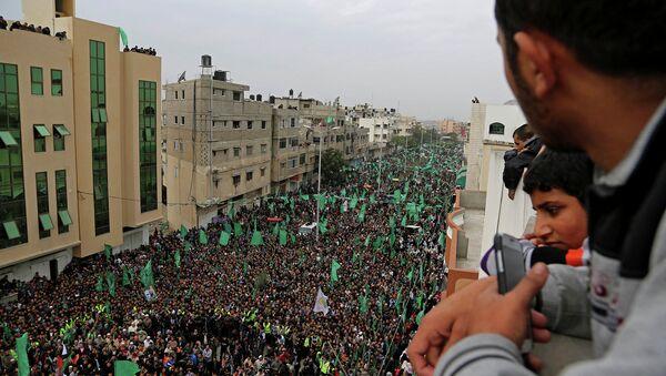 Сторонники движения ХАМАС во время митинга в Палестине. Архивное фото