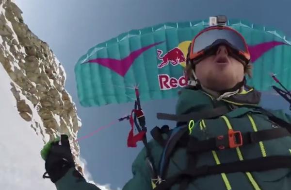 С парашютом на лыжах