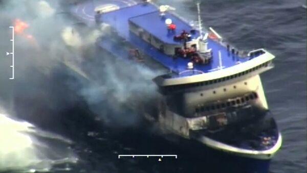 Пожар на пароме Norman Atlantic в Ионическом море. Кадр из видео береговой охраны Италии