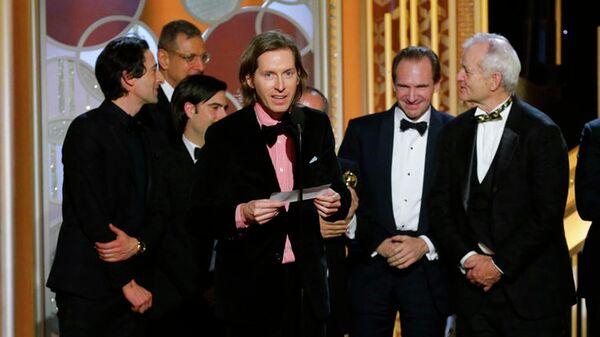 Американский кинорежиссер, сценарист, актер и продюсер Уэс Андерсон на церемонии вручения премии Золотой глобус. 2015 год