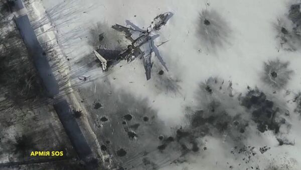 Вид на разрушенный аэропорт Донецка
