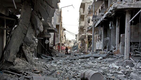 Разрушенная улица в Кобани. Архивное фото