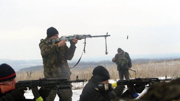 Украинские военные ведут обстрел позиций ополченцев около Лисичанска, Луганская область. 29 января 2015. Архивное фото