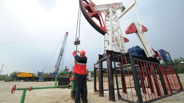 Оператор по добыче нефти на нефтяном кусте. Архивное фото