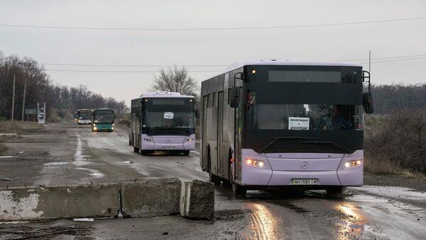 Автобусы для эвакуации беженцев в Донбассе