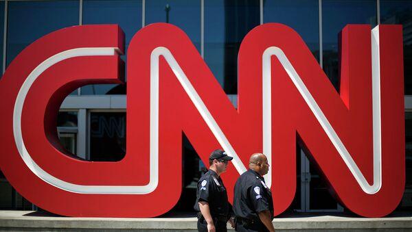 Логотип телеканала CNN в Атланте, США. Архивное фото
