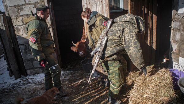 Ополченцы ухаживают за домашним скотом. Архивное фото