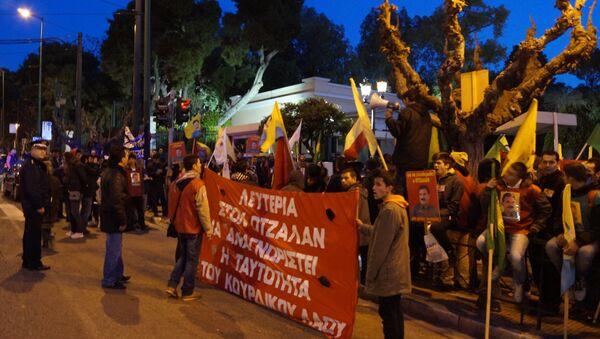 Митинг курдов в Афинах