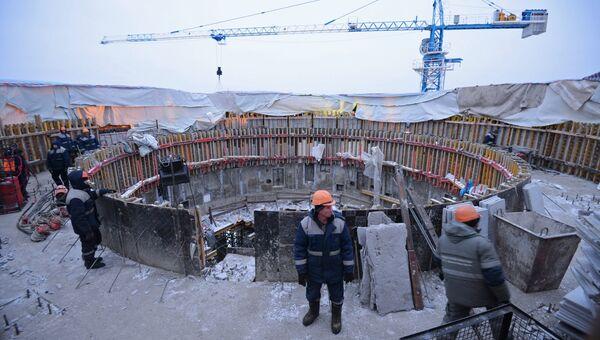 Рабочие на строительной площадке космодрома Восточный в Амурской области. Архивное фото