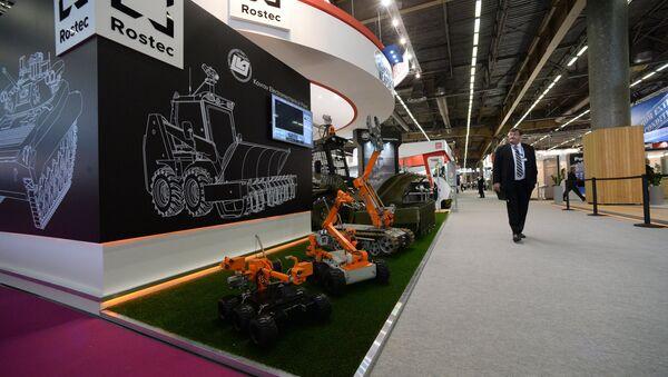 Стенд российской госкорпорации Ростех на Международной выставке вооружений и военной техники Eurosatory 2014 в Вильпенте. Архивное фото
