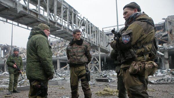 Ополченцы Донецкой народной республики в аэропорту города Донецка. Архивное фото