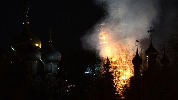 Пожар в Новодевичьем монастыре. Архивное фото