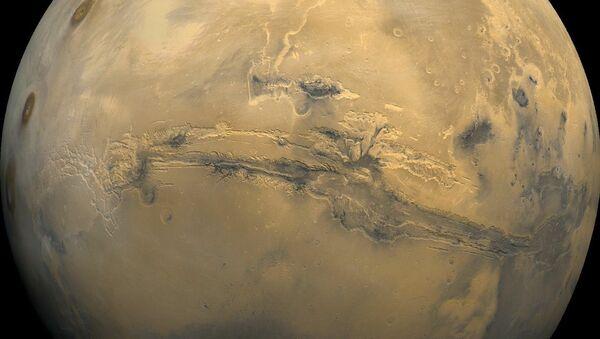 Большой каньон на поверхности планеты Марс. Архивное фото