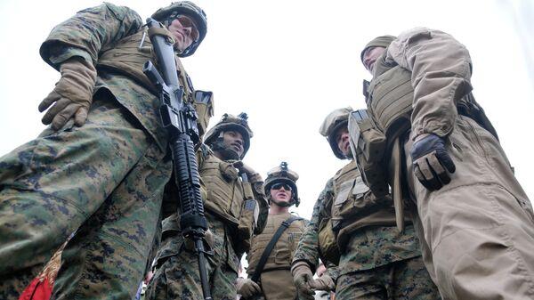 Морские пехотинцы США и эстонского разведывательного подразделения Кайтселиита. Архивное фото
