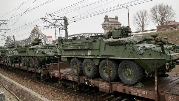 Американские броневики прибывшие в румынский порт Констанца на военные учения НАТО