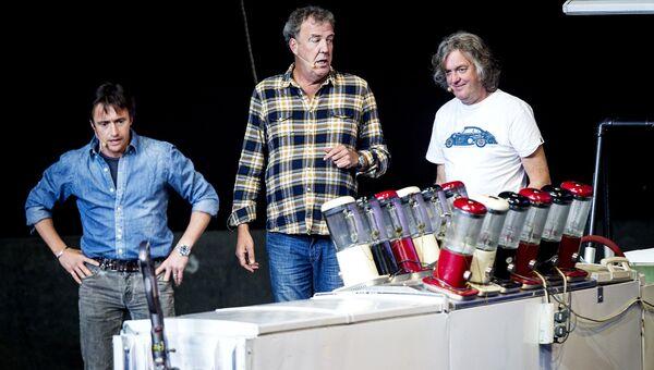 Ведущие программы Top Gear - Джереми Кларксон, Джеймс Мэй и Ричард Хаммонд. Архивное фото