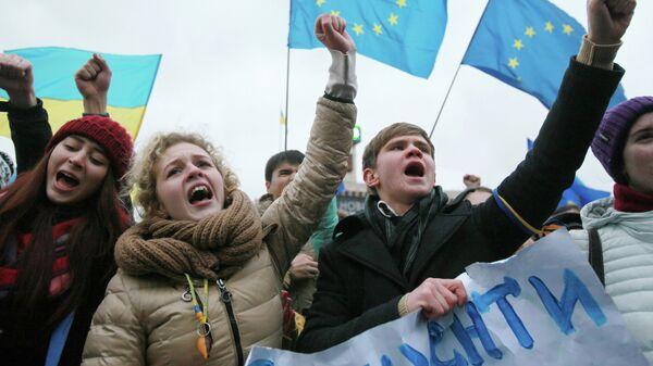 Студенты киевских ВУЗов на акции против решения правительства Украины о приостановлении процесса интеграции Украины и Евросоюза. Архивное фото