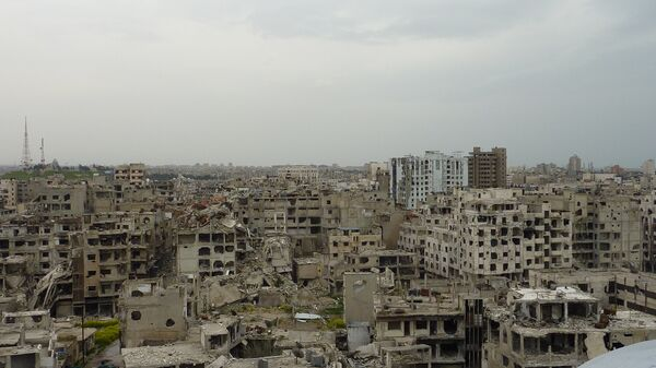 Вид с Мечети Халида ибн Аль-Валид. Город Хомс. Сирия. Архивное фото
