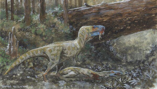 Дасплетозавр поедает тушу сородича