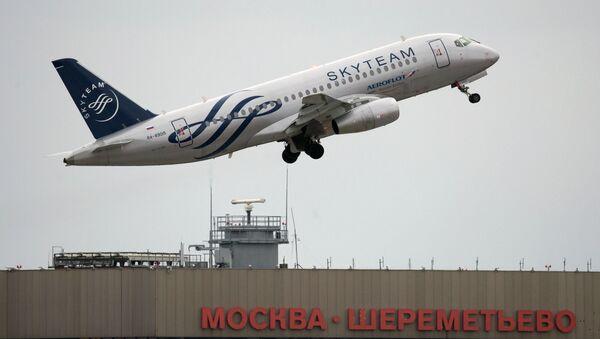 Самолет Сухой авиакомпании Аэрофлот. Архивное фото