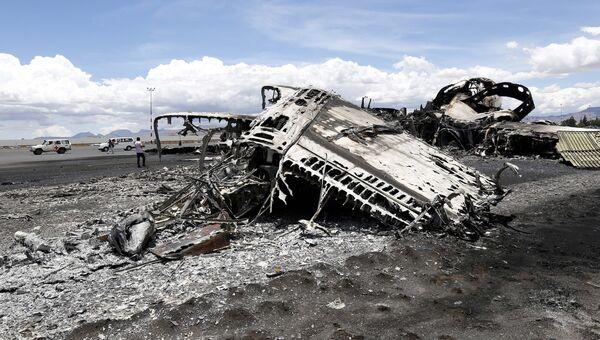 Последствия авианалета в Международном аэропорту Саны. Архивное фото
