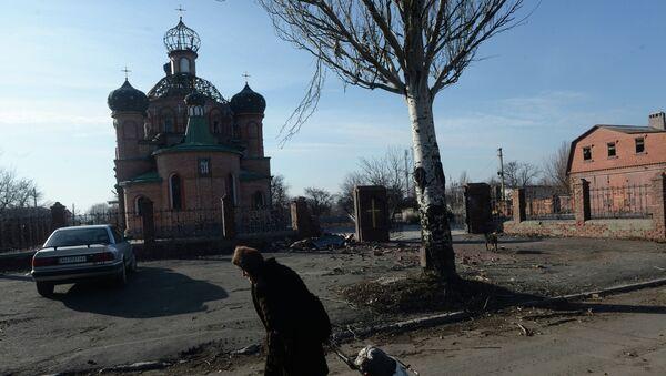 Женщина везет тележку с углем в поселке Октябрьский рядом с аэропортом города Донецка