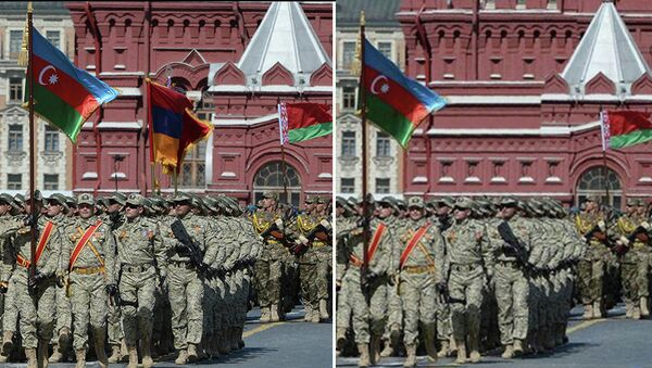 Флаг Армении во время парада Победы 9 мая в Москве